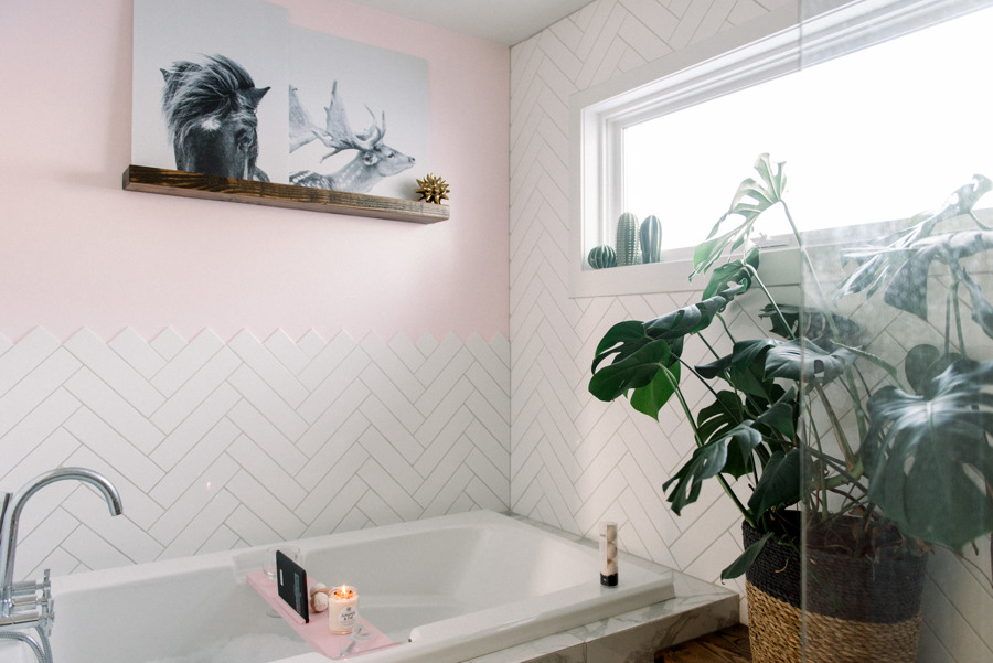 pink modern minimalist bathroom monstera plant  chevron wall tile